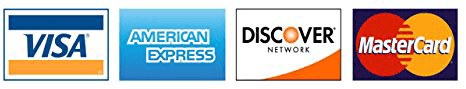 We Accept Visa, Discover, American Express, and Mastercard